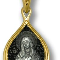 Medalion din argint aurit cu Maica Domnului